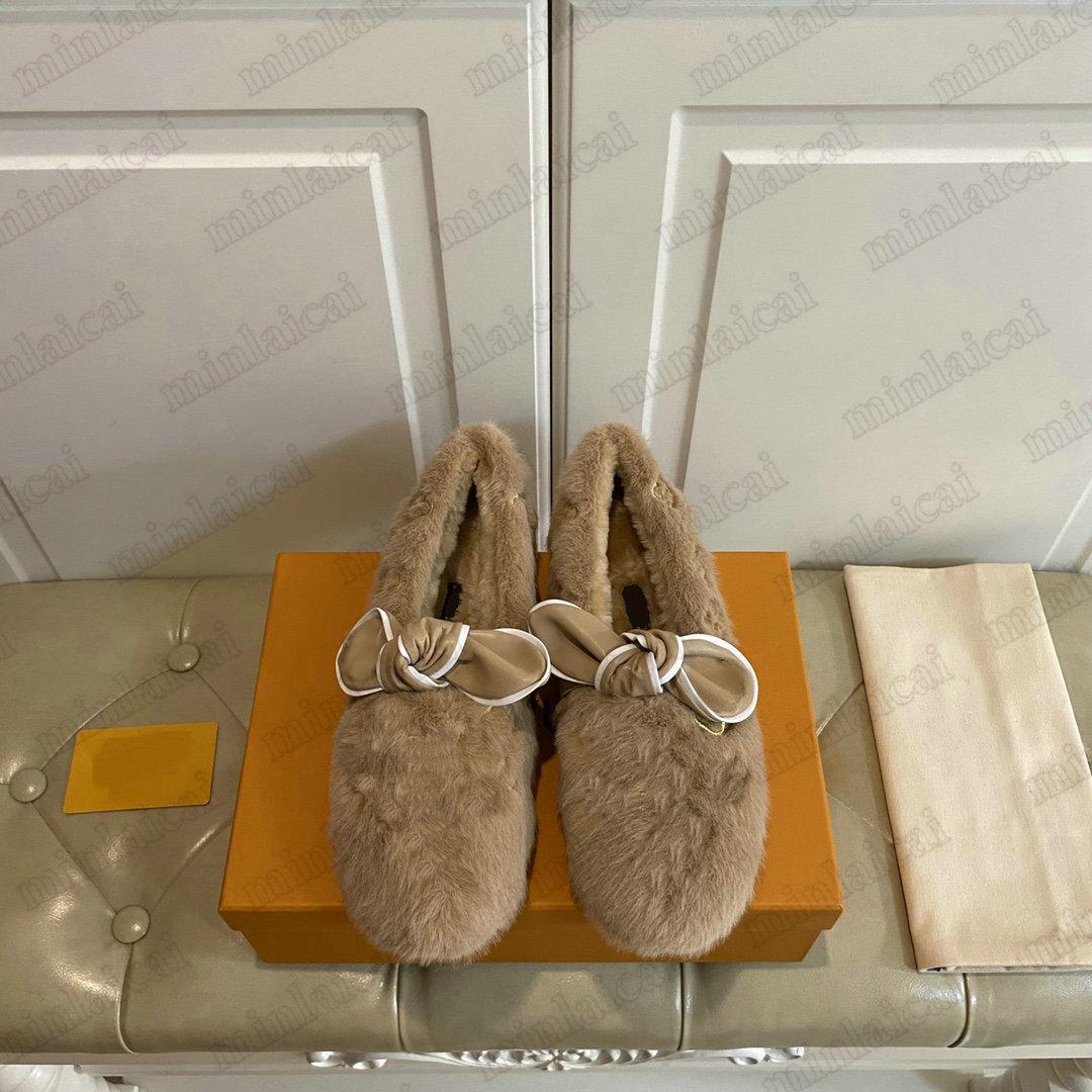 Traumhafte flache Müßiggänger Hausschuhe Nerz Pelz Bowknot Luxurys Designer Dame Slip-on Fuzzy Flauschige Sandalen Winter Booties Gummi Strand Rutsche Damen Schuhe Für Damen
