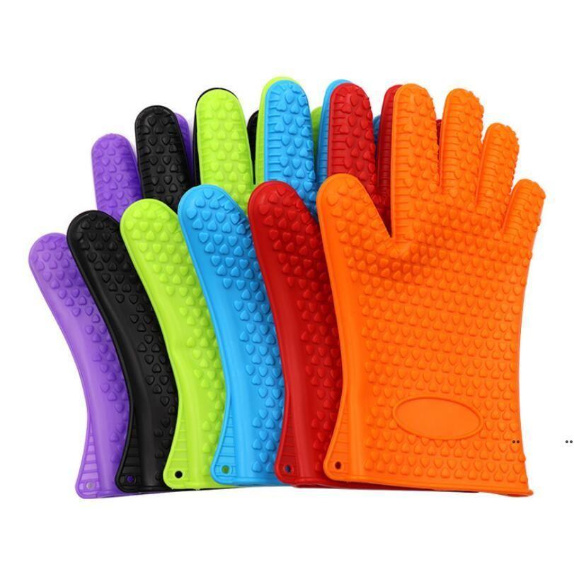 Neue Silikon BBQ Handschuhe Anti Slip Hitzebeständige Mikrowellenofen Topf Backen Kochen Küche Werkzeug Fünf Fingers Handschuhe FWC6544