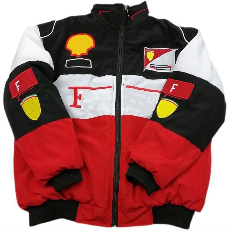 F1 سباق بدلة ذات أكمام طويلة الرجعية دراجة نارية دعوى سترة دراجة نارية خدمة إصلاح السيارات الشتاء القطن بدلة مطرزة سترة دافئة