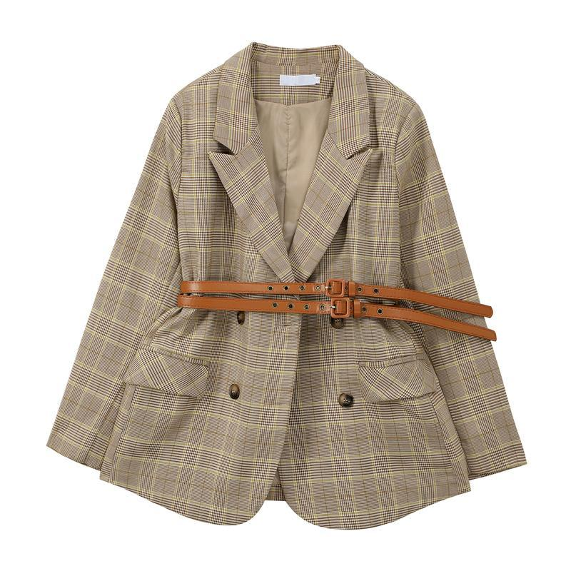 Frauenanzüge Blazers Plaid Anzug Jacke Herbst Winter Koreanischer Retro Britischer Zweibrügner Gürtel Casual Light Calico Jaket Fashion Tie B13