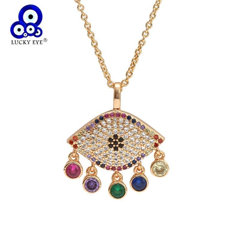 Anhänger Halsketten Glückliches Auge Multi Color Quaste Türkische Böse Halskette Gold Lange Kette Für Frauen Mädchen Schmuck BE125