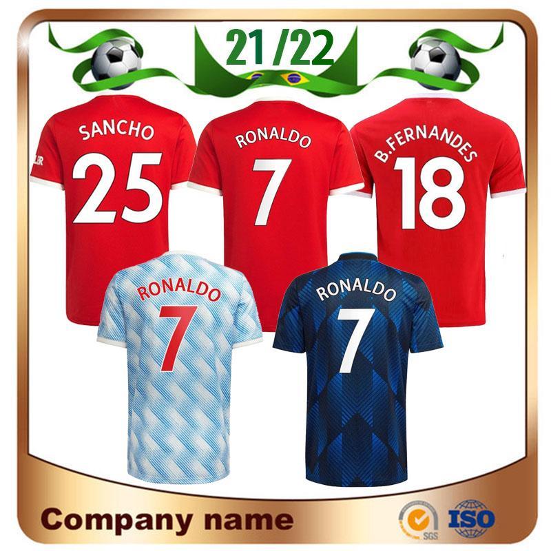 21/22 Ronaldo Rashford Pogba Soccer Jersey 2021 Sancho Shirt B.Fernandes R.Varane Lingard Martial Cavani Greenwood Shaw Kit Kit Uniforme de fútbol