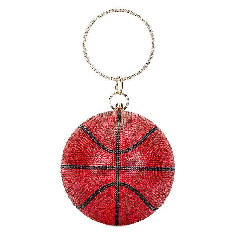Bolsos de embrague de baloncesto de diamantes de lujo para mujer Fútbol Forma Monedero y bolso