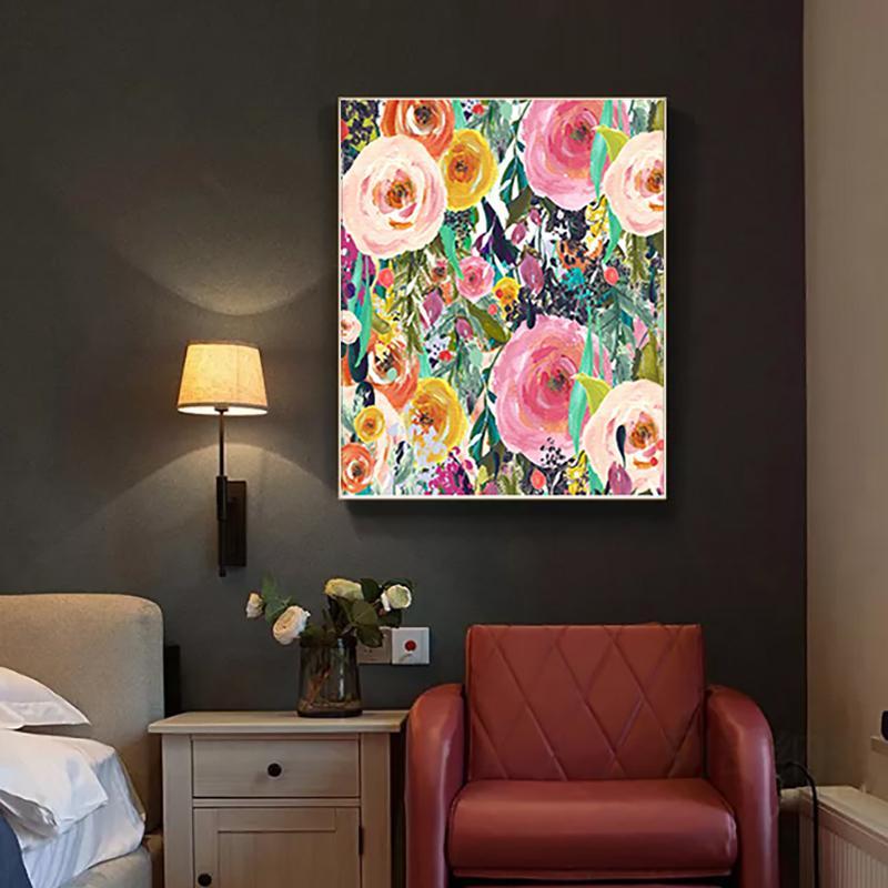 Digital Oil Painting Handmade Home Decoration Decoration Paint by Numbers Art Rose disegno su tela regalo fai da te immagini Kit di fiori 210310