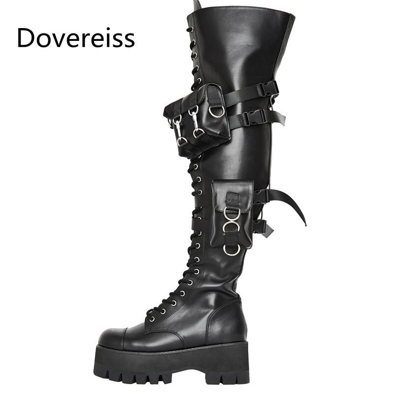 Dovereiss Fashion Chaussures Femmes Hiver Motercycle Bottes Round Toe Sexy Sexy Sexy sur les bottes au genou Concise Mature 45 x0104
