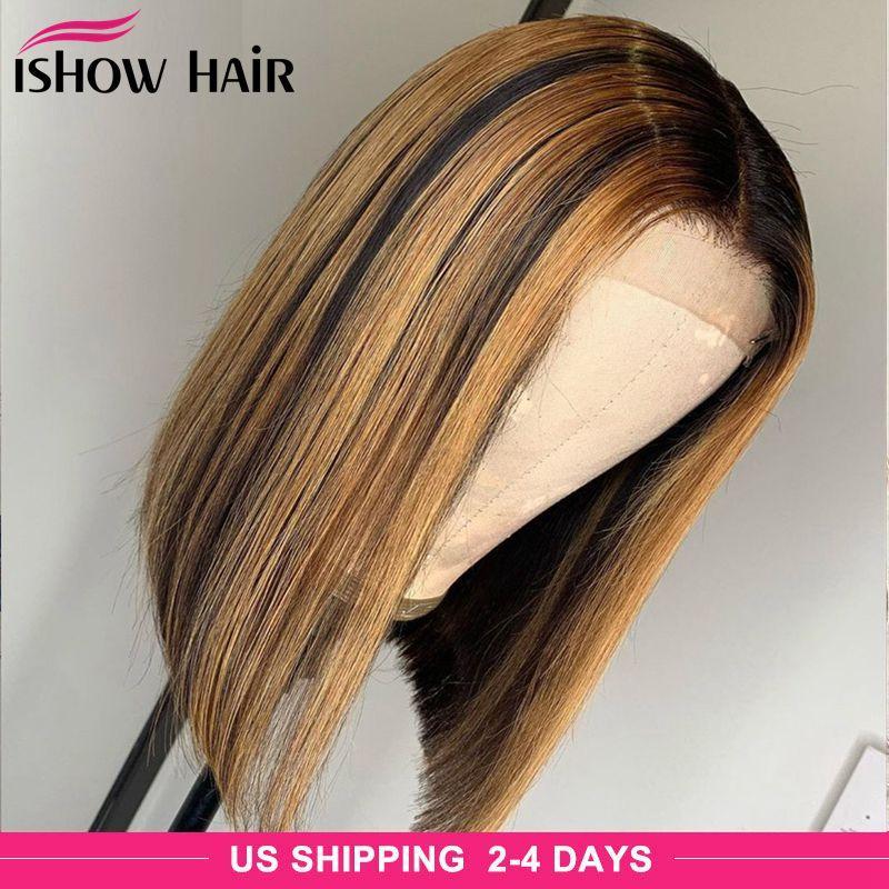 Brasilianer Gerade Highlight Bob 4x4 Spitze Verschluss Menschliches Haar Perücken 4/27 Omber Natürliche Farbe Menschliches Haar Lace Front Perücken