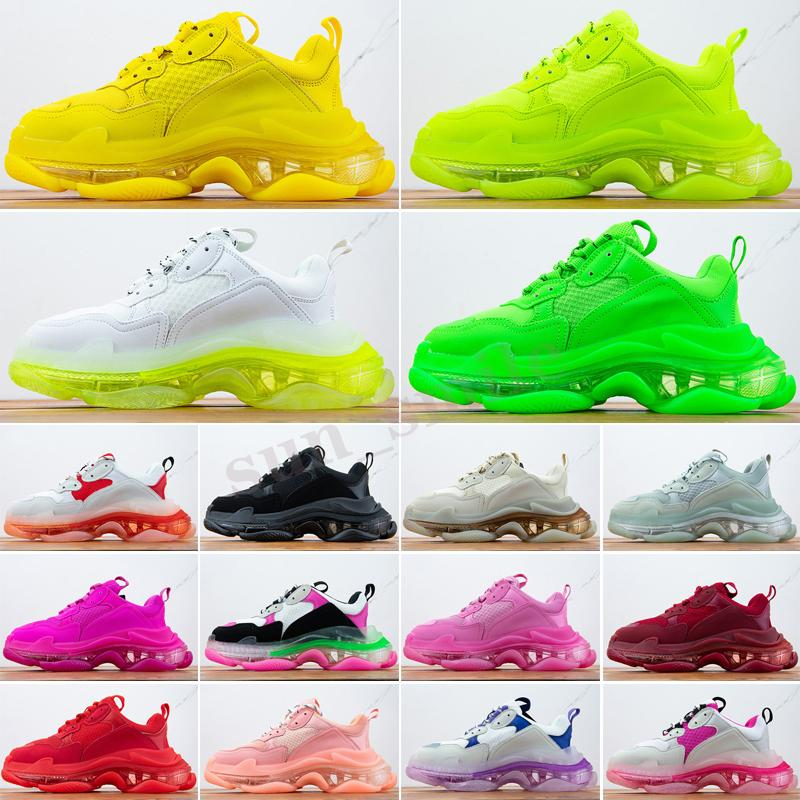 Balenciaga Triple S Moda uomo Donne Casual Dad Shoes Neon Green Triple-S 17FW Sneakers Tripler Nero Pink Crystal Clear Sole Bottom Paris Platform Shoes Shoes