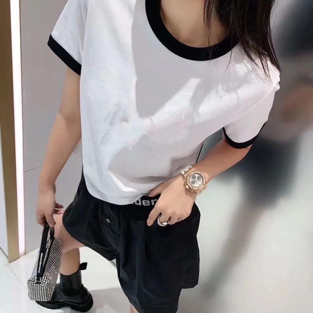 Yeni bahar ve yaz 2021 yuvarlak yaka eşleştirme renk 3d harfli kısa kollu rahat ceket çok yönlü gevşek jumper t-shirt kadınlar