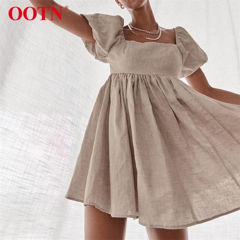 OOTN Винтажные повседневные короткие платья летние женщины половые рукавные платья высокие талии квадратный воротник льняные женские платье хаки 210315