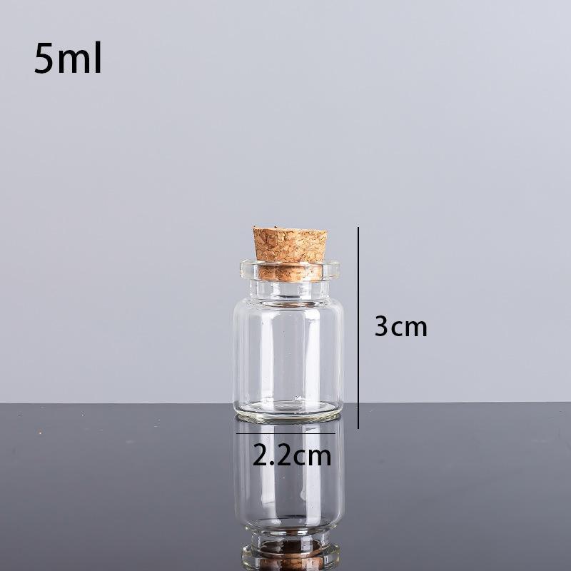 5ml 22x30x12.5mm petits mini bouteilles de verre transparentes avec des bouchons de liège / des mariages de message souhaitent des bijoux