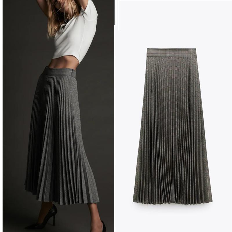 Vintage 2021 New Plaid Pleated Women A-line High Waist Midi Skirt Woman Fashion Side Zipper Office Laddies Elegant Skirts Vjna YR2H