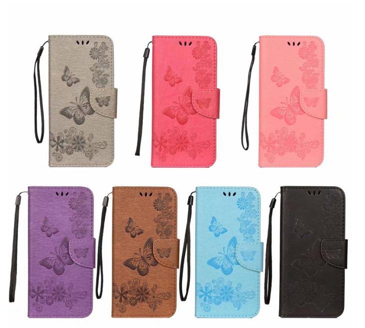 Capa de Carteira de Couro Borboleta para Galaxy S10 S10E PLUS M10 M20 A30 A50 Huawei P30 Pro Lite Flower Card Capa de Slot Flip Fashion Strap