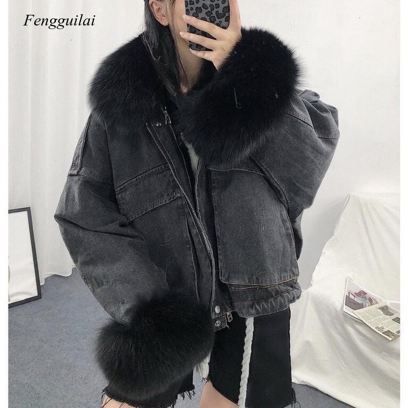 따뜻한 폭격기 여성 겨울 자켓 코트 여성 청바지 코트 기본 숙녀 상단 윈드 브레이커 데님 재킷 Overcoat Plus 크기