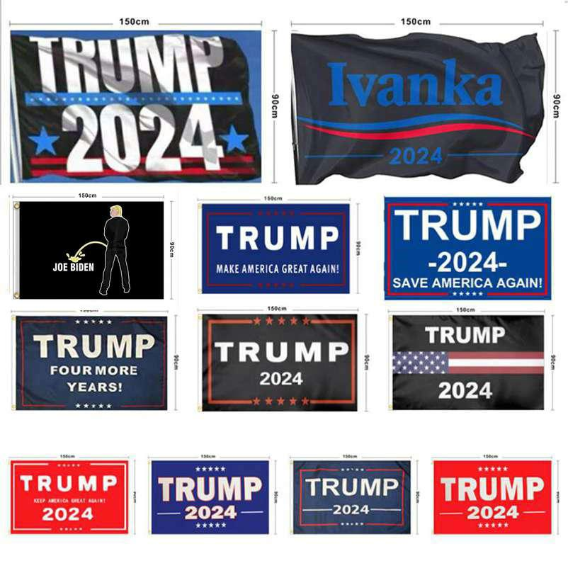 جديد ترامب 2024 العلم الولايات المتحدة الحملة الرئاسية العلم 90 * 150CM 3 * 5ft راية العلم للمنزل حديقة يارد WWA126
