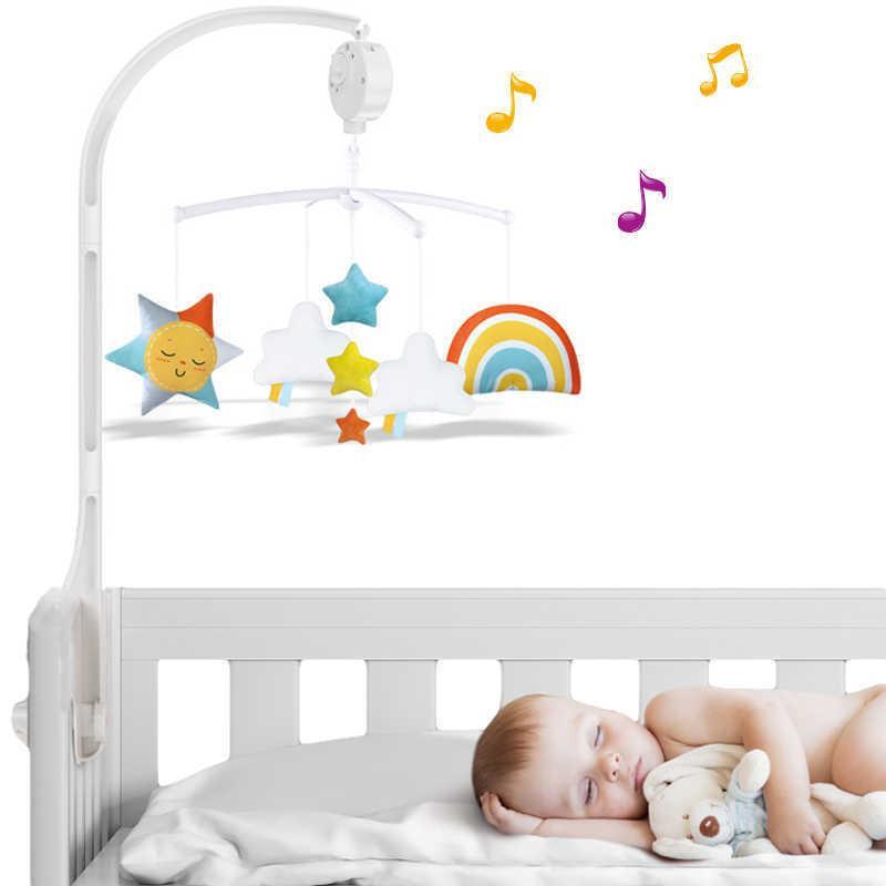 Krippe Halter Weiße Rasseln Armhalterung Set Kinderbett 360 Grad Rotierende Krippen Bett Glocke Spielzeug Wind-up Baby Rotary Mobile Music Box
