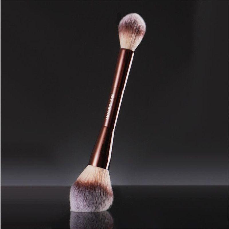 Kum saati peçe tozu makyaj fırçası - çift uçlu toz fosforlu ayarı kozmetik makyaj fırça ultra yumuşak sentetik saç damla gemi 1 adet