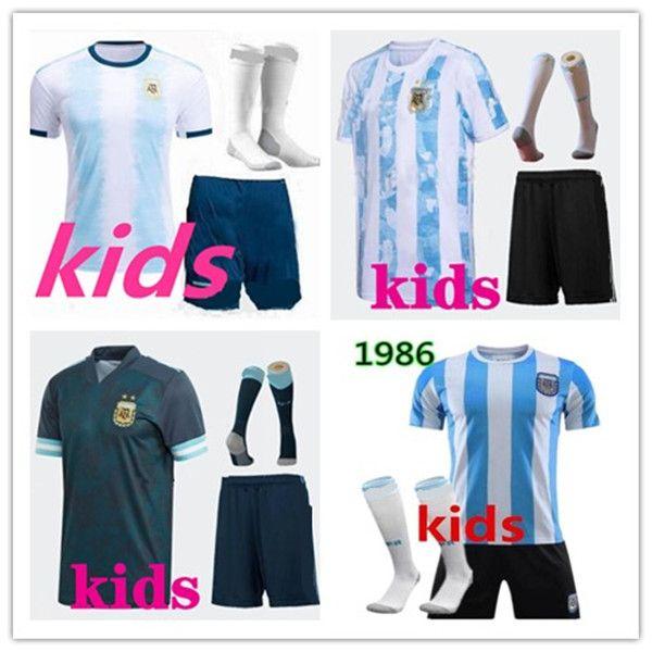 Enfants Kit 2019 2020 Copa America Argentine Home Soccer Jersey 1986 Maradona Camisetas de futbol Messi Dyala Chemise de football Uniforme