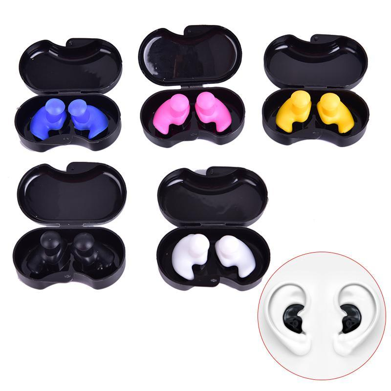 1 Pair Silicone Earplugs Diving Water Sports Swimming Accessories Soft Ear Plugs With Luxurious Collection Box