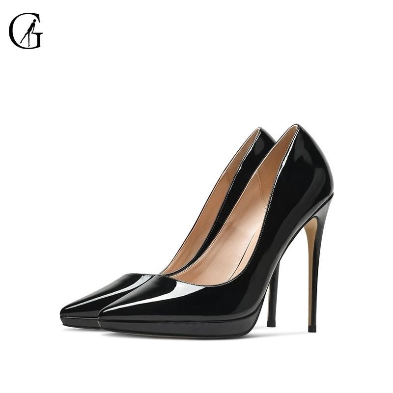 Goxeou-Frauenpumpen-Patentleder wasserdichte Plattform-Spitz-Zehe High Heels-Party Sexy Fashion Office Dame Schuhe Größe 33-46 210301