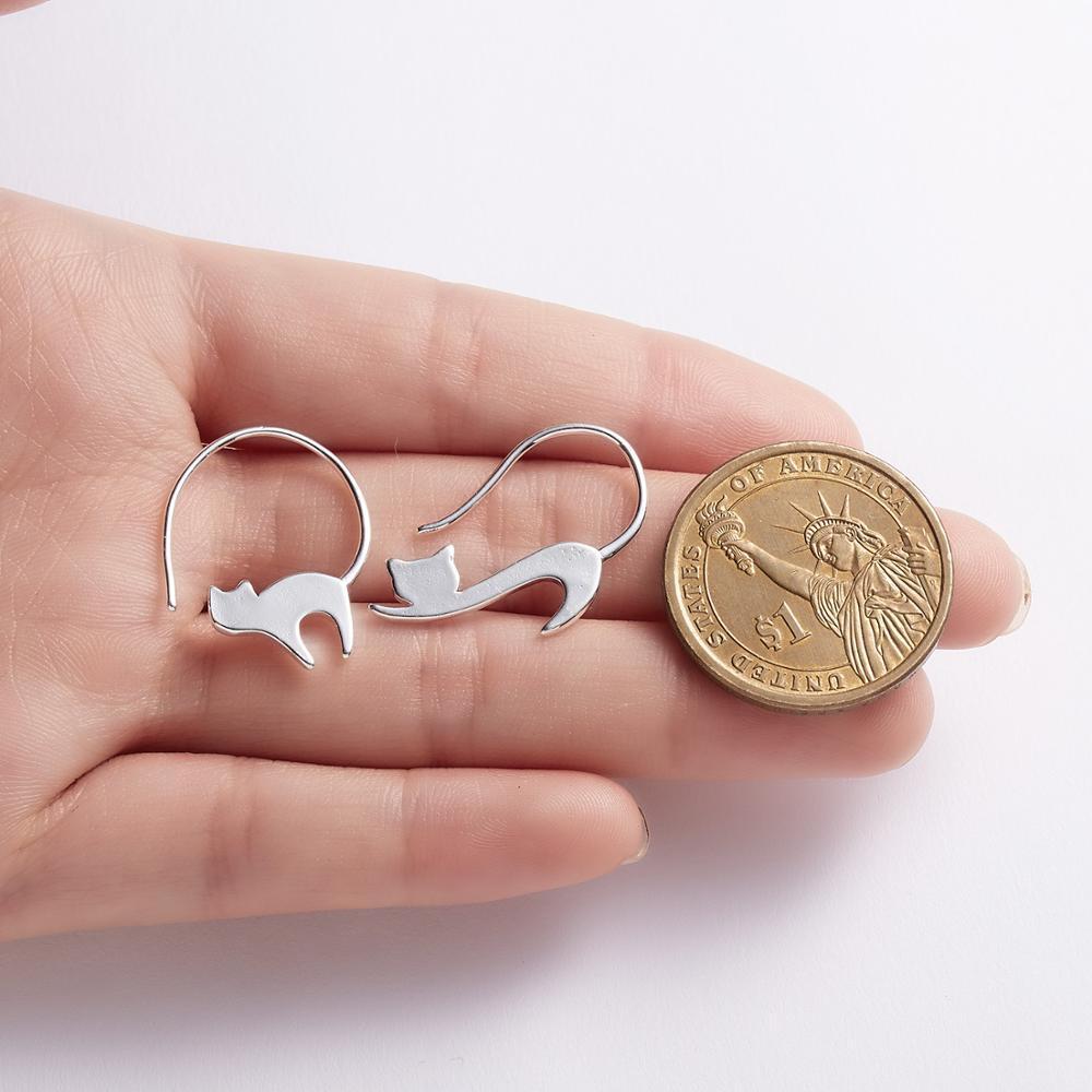 Милый мультфильм 3d животное серебро цвет кошка серьги серьги печатает милые маленькие серьги для женщин для женщин пирсинг ювелирные изделия