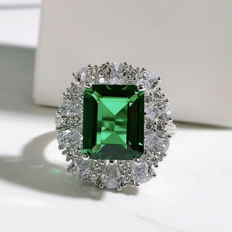 Cluster Rings 2021 S925 Sterling Silver Ring Luxury Emerald Cut Inlaid 9*11 Zircon Jewelry Female