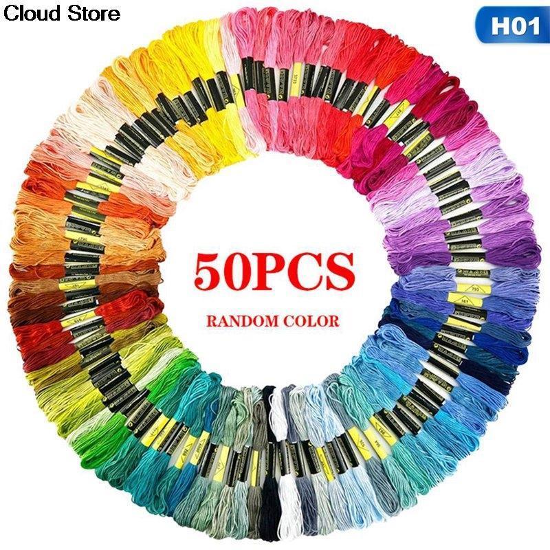 Hilado 50/100/120/124/150/12/124 / 150/200 / 250pc Bordado Floss Stitch Kit de punto de cruz Premium Rainbow DIY Threads Crafts Algodón Costura de madeja