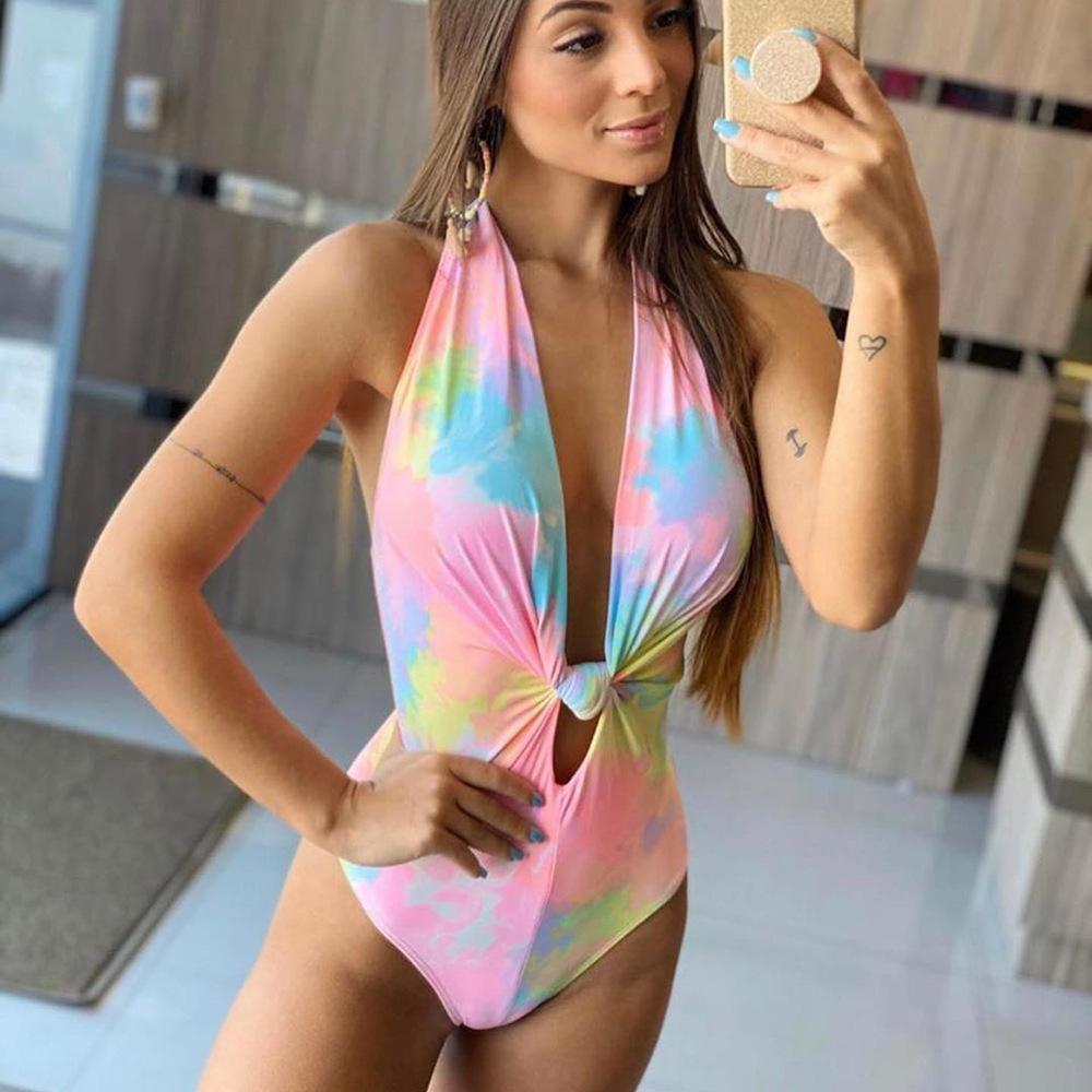 2021 NUEVO INS ONE PIEZA TIE TIENE DYE ABIERTO Cuello de espalda profundo V Sexy traje de baño Mujer