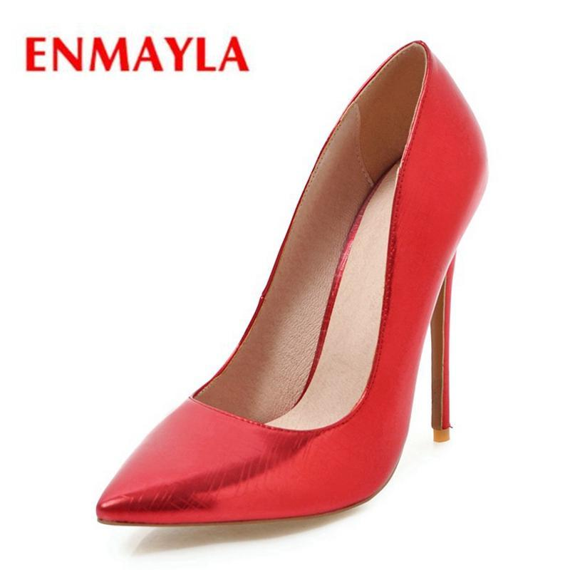 Платье обувь Enmayla High каблука женщина синтетическая заостренный носок Slip-on Size34-43 Zyl2288