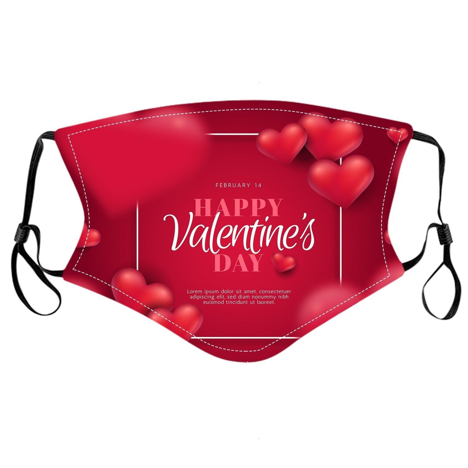 Factory07gamask Mask Valentines Jour Lavable visage Couvercle de mode Visage Visage Décorations faciales pour hommes Femmes Turnproof Protecteur de
