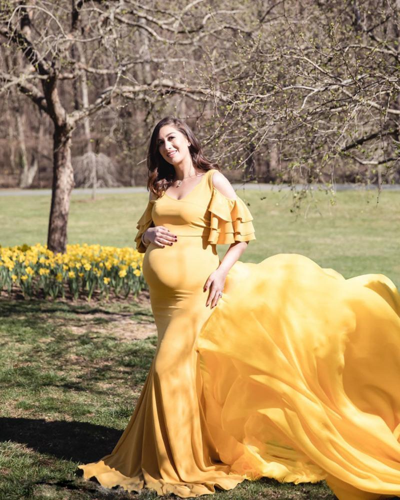 Elegante vestido de maternidad sin hombros, accesorios para mujeres embarazadas, vestido de embarazo de lujo, vestido de foto, sesión de fotos.