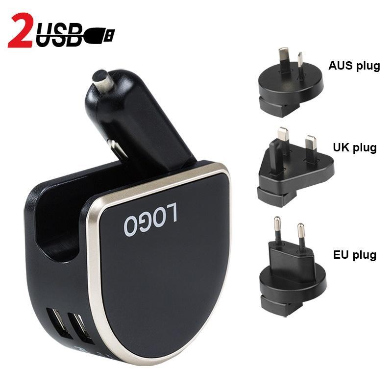 شاحن سيارة ولاعة السجائر 2400ma PC + ABS للتغيير المكونات 2 منافذ USB-A Carable شاحن سيارة 100 ~ 240V 5C 2.4A