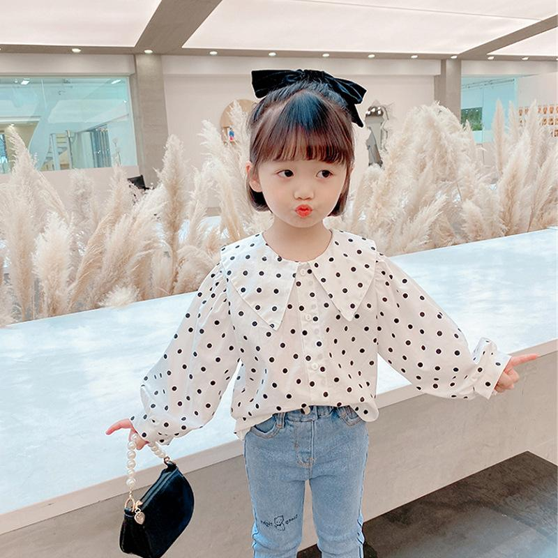 SK New INS Korean Style Fashions Kids Girls Blouses Shirts Polka Dot Long Sleeve Princess Girls Children Tops Tshirts