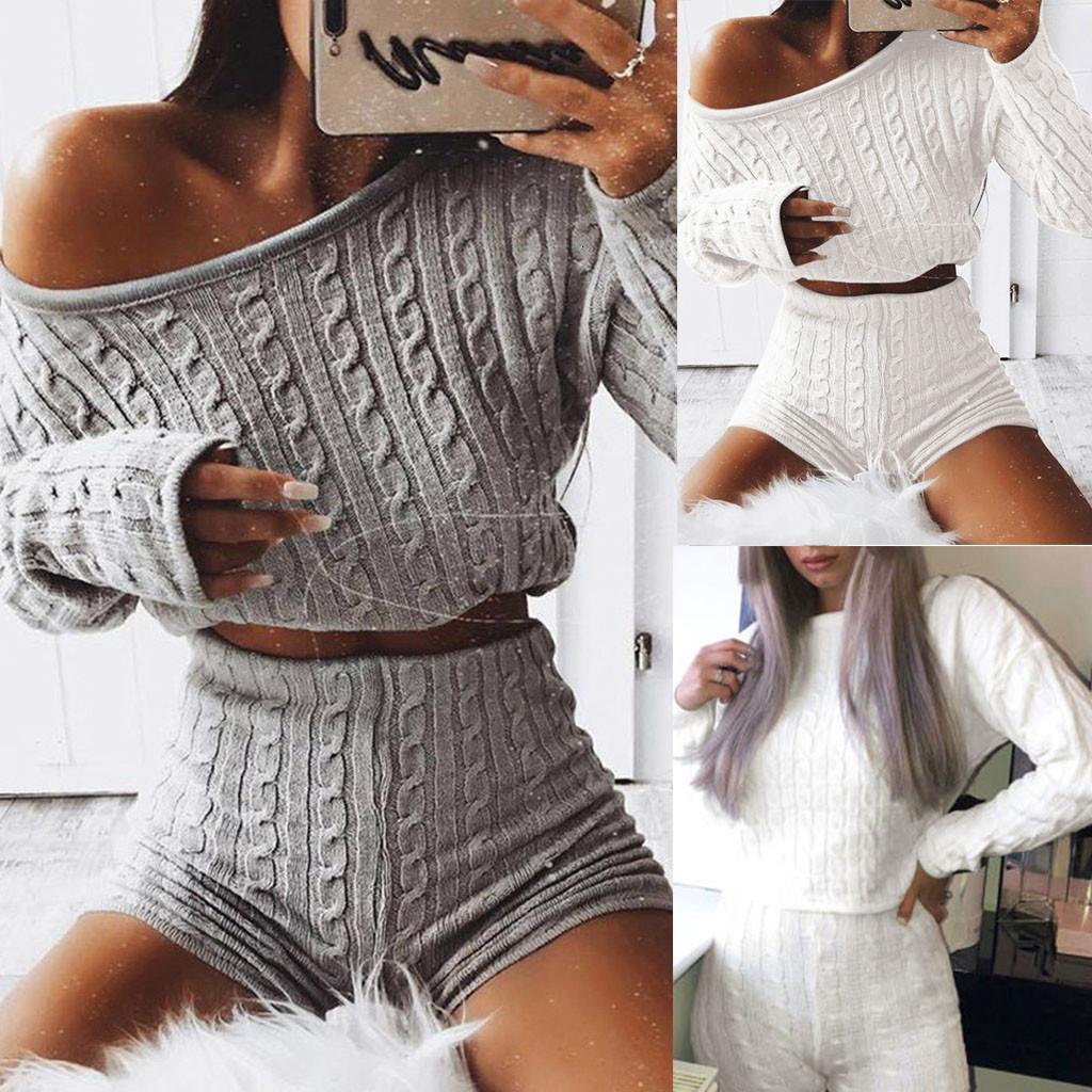 2 ADET Setleri Kadınlar Kırpılmış Şort Set Katı Bayanlar Dışında Malha Loungewear Safra Kısa Takım YENI 41 Giysileri Set * DV2M