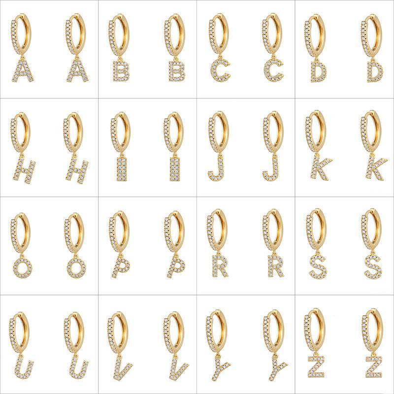 Fashion Cubic Zircon Initial A-Z Letter Earrings DIY Alphabet Drop Hoop Earings for Women Letters Pendant Earring Fashion Hip Hop Jewelry