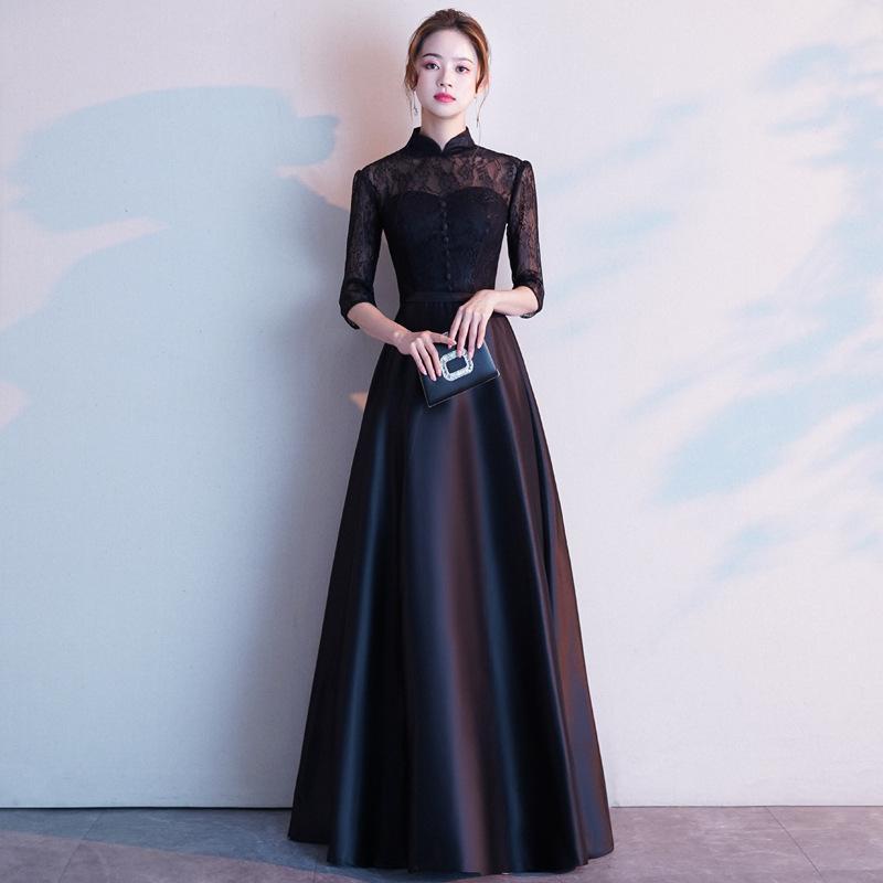 Klasik Kadınlar Vintage Düğme Cheongsam Etek Dantel Çiçek Abiye Elbise Zarif Saten Uzun Qipao Elbiseler Vestidos Oymak