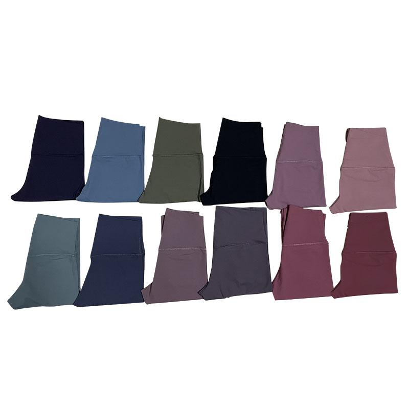 Сплошные цвета женские йоги брюки высокие талии спортивный тренажерный зал носить леггинсы упругие фитнес леди общие полные колготки тренировки йога спортивные леггинсы L-05