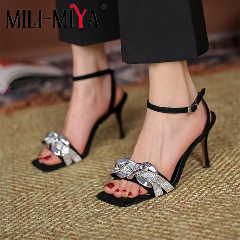 Mili-miya2021 été nouveau strass talon haut talon sandales noires ouvertes sqaure toe mode extérieur fashion boucles boucles chaussures attrayantes