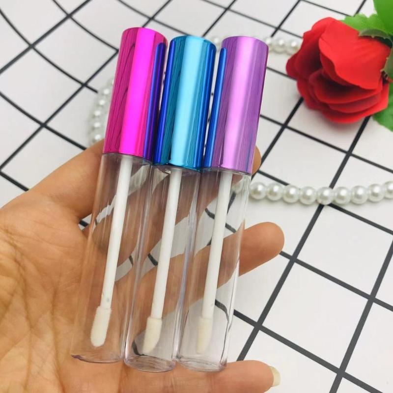 Lagerflaschen Gläser 10/50 / 100pcs 10ml Leer Lip Gloss Tube Klar Glasurbehälter Gold, Blauer Deckel Lipgloss Kosmetikverpackung