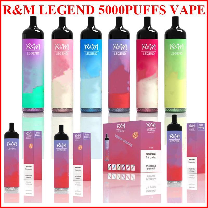 원래 RM 전설 일회용 전자 담배 장치 KIT5000 퍼프 950mAh 배터리 12ml 프리 쿼리 카트리지 포드 vape 스틱 펜