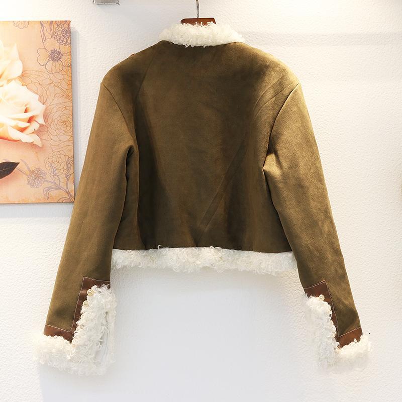 2021 зимнее теплое теплые стеганые пальто женщины свободные короткие мото овец скручиваемость армии зеленая куртка женская верхняя одежда Chaqueas Mujer 74of