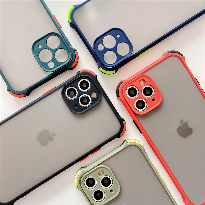 Hybride Armor Shockproof Matte Hard PC Back Cover Case Rand Silicon Sel voor iPhone 12 11 Pro Max XR XS MAX 6 7 8 Plus SE 2020 280pcs / lot