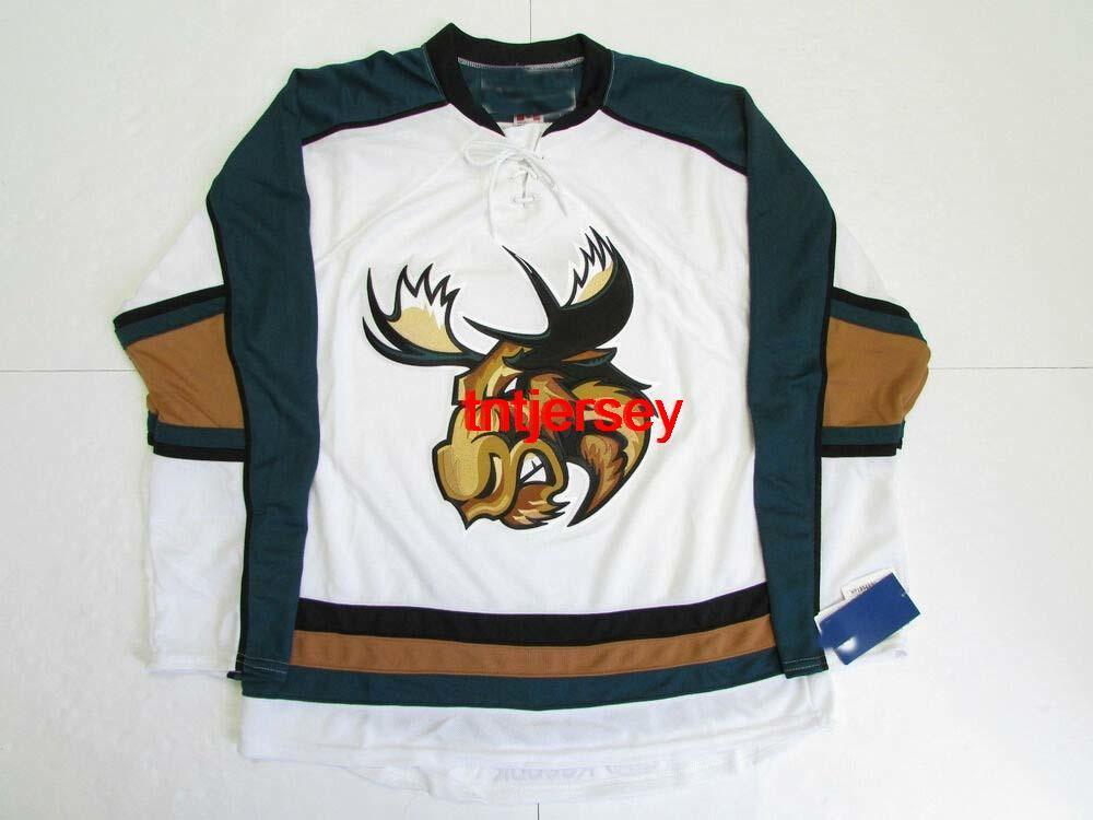 Dikişli Özel Manitoba Moose AHL Beyaz Hokey Jersey Herhangi bir isim ekleyin Erkek Çocuklar Jersey XS-5XL