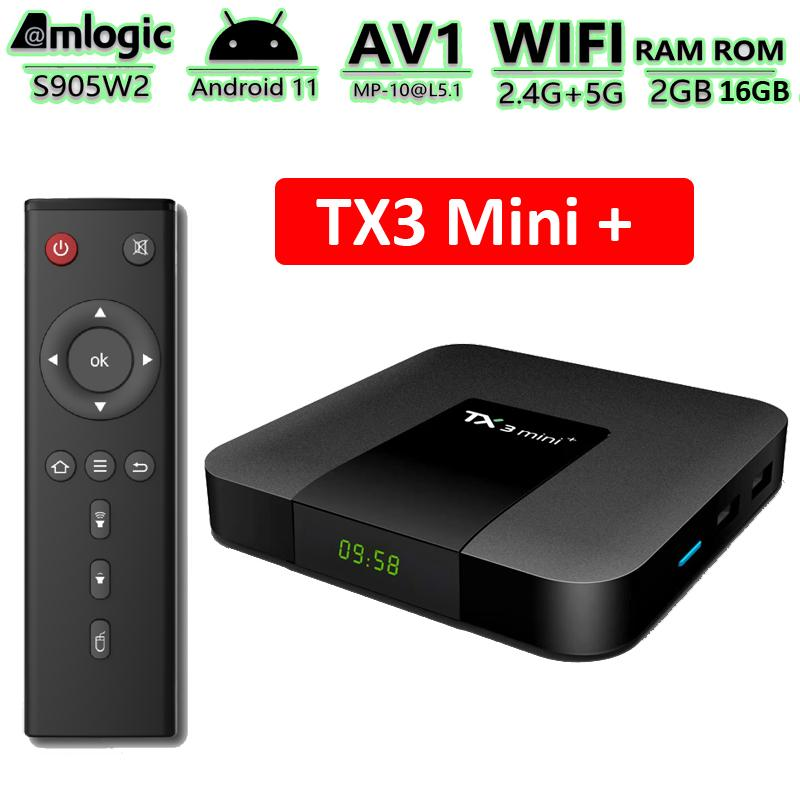 TX3 Mini Plus Android 11 TV Box Amlogic S905W2 2GB 16GB Smart TVbox Supports 2.4G/5G Dual Band Wifi BT Media Player with Disply TX3 Mini+ 2G16G