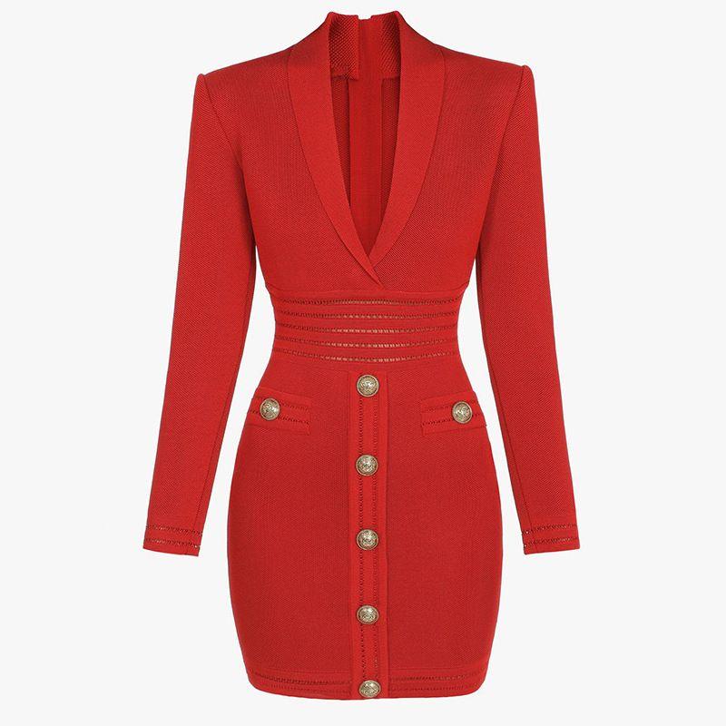 Yeni Varış Tasarımcı Marka Kadın Pist Elbiseler V Boyun Uzun Kollu Aslan Başkanı Düğme Seksi Milan Pist Elbise Kılıf İnce Örme Elbise H26