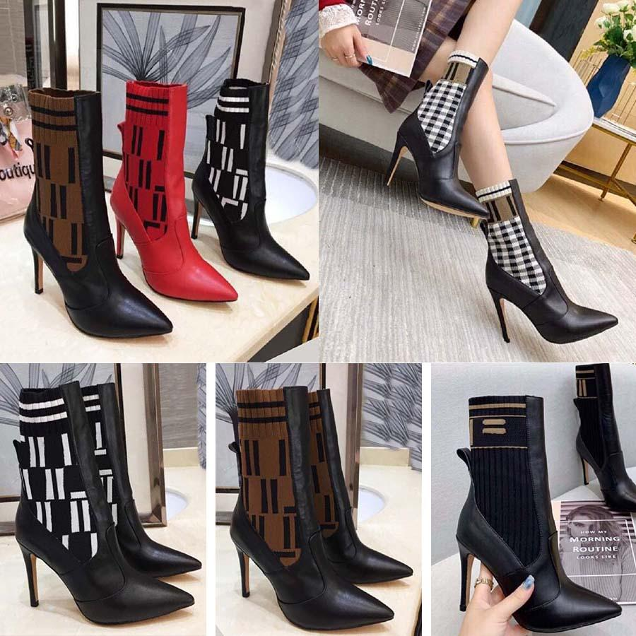 Женщины дизайнерские сапоги силуэт лодыжки ботинок черный Мартин пинетки стрейч высокий каблук носок сапоги и плоский носок кроссовки зимние женские туфли домой011 1-1