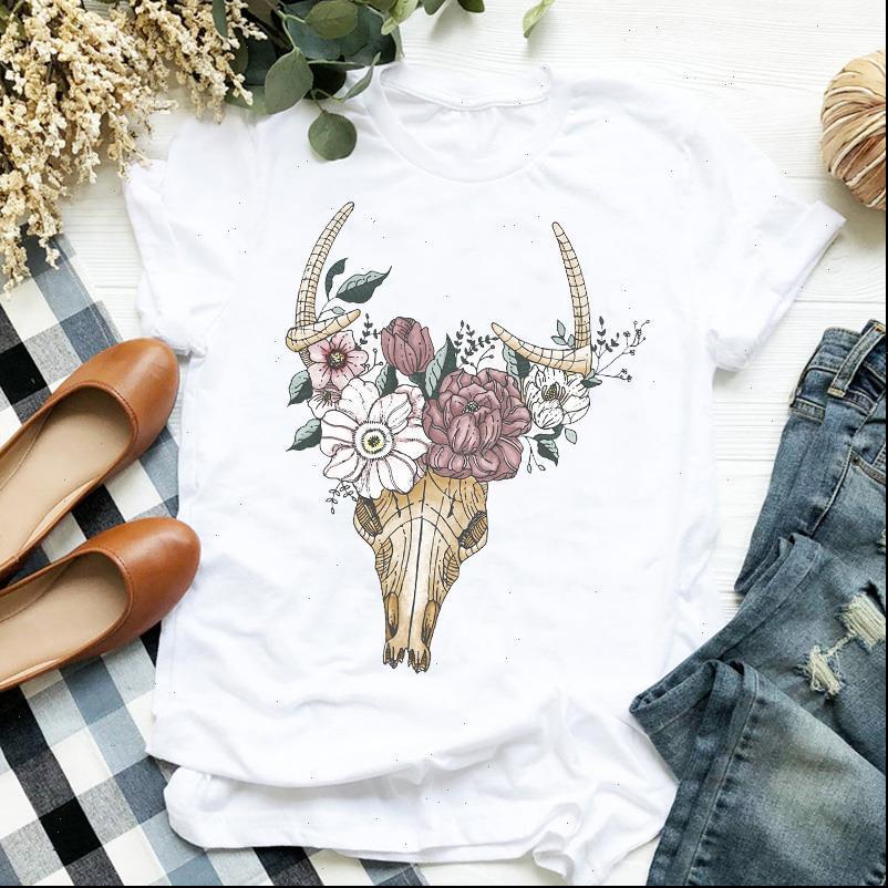 النساء سيدة الزهور الجمجمة heifer بقرة خمر الماشية لطيف السيدات ر تي شيرت المرأة قميص الملابس الإناث أعلى الرسم تي شيرت