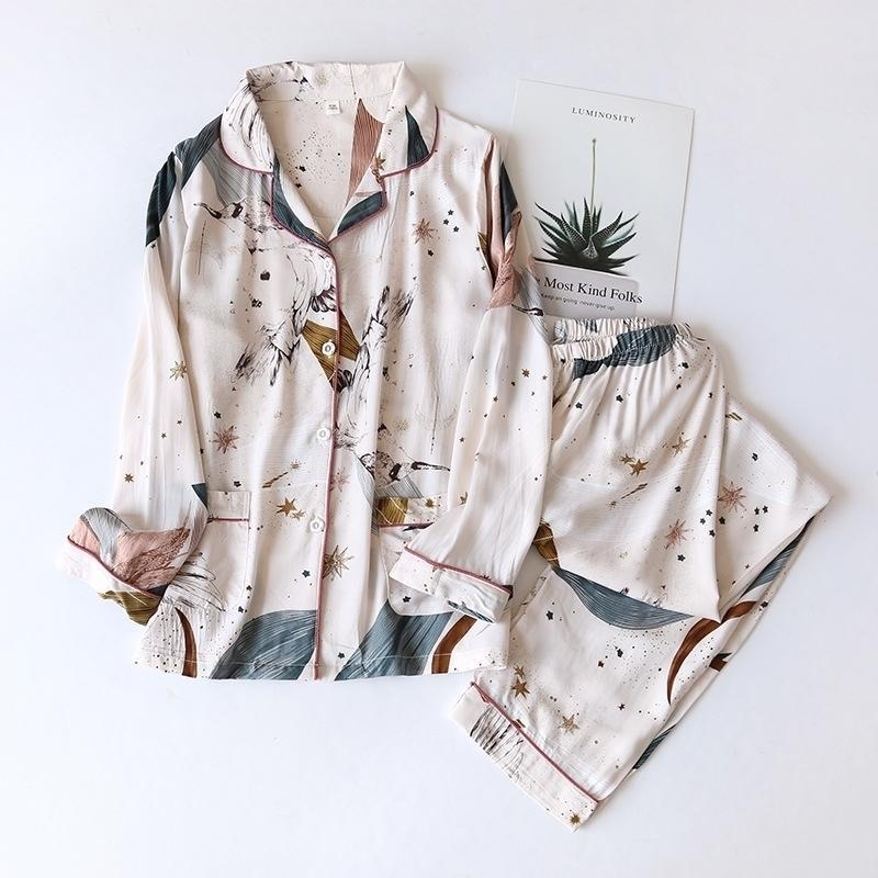 Весна / лето Новые 100% вискозные брюки с длинными рукавами дамы Pajamas костюм простой стиль длинные пижамы женские домашние услуги 210315