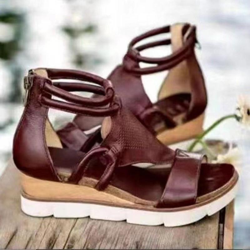 Sandalen 2021 Frauen Reißverschluss Plattform Keile Offene Spitze Feste Farbe Aushöhlen Damen Schuhe Sommer Mode Lässige Weibliche Schuhe