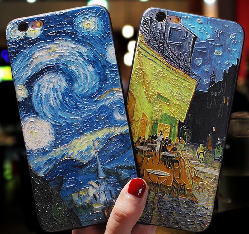 Coque Téléphone 3D Soulagement Van Gogh pour iPhone 7 Plus 8 6 6S x Couverture en silicone pour iPhone 12 Mini 11 PRO XS Max SE 2 XR Stare Sky Case