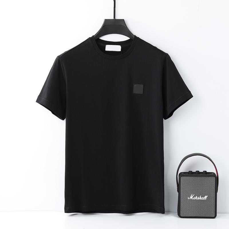 Homens de verão camisetas Algodão de Alta Qualidade Camiseta Bordado Simples Bordado Casal Sólido Mangas Curtas Europeias e Americanas Marca de Lazer Tees